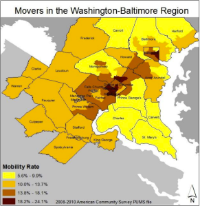 The mobility rate is determined by the percentage of the population that changes residences every year.